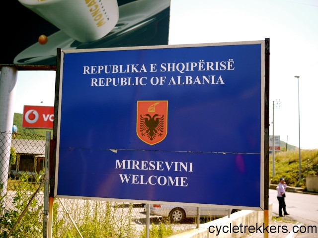 Albania sign, cycling Albania