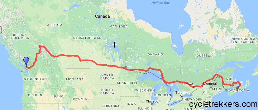 Trans Canada Bike Route Map Canada Cycle Route Trip Notes: 2016   Cycle Trekkers