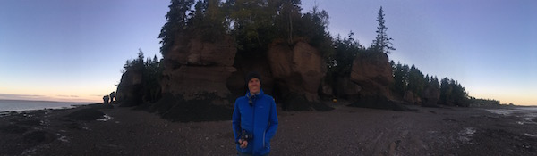 Hopewell Rocks at sunset, cycling in New Brunswick