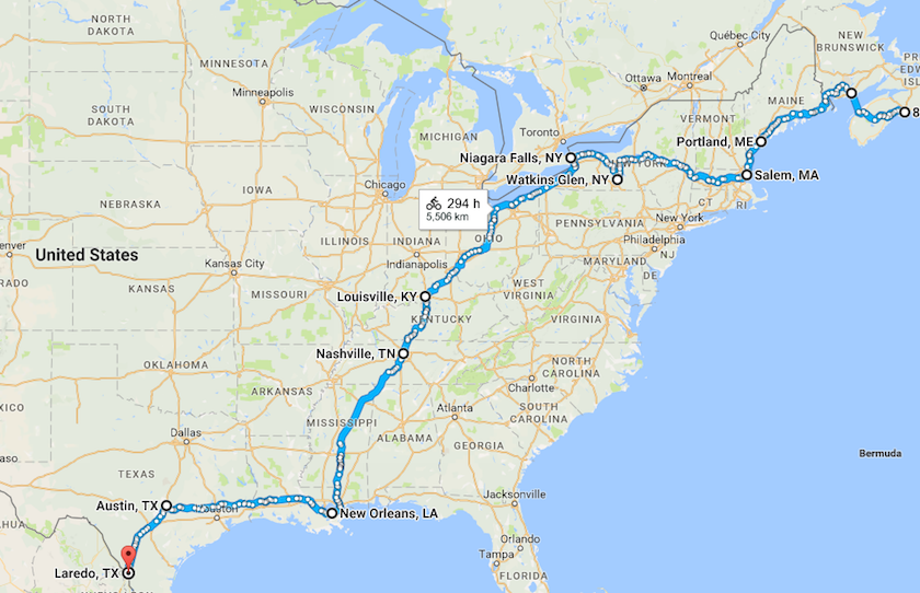 Proposed route across the USA
