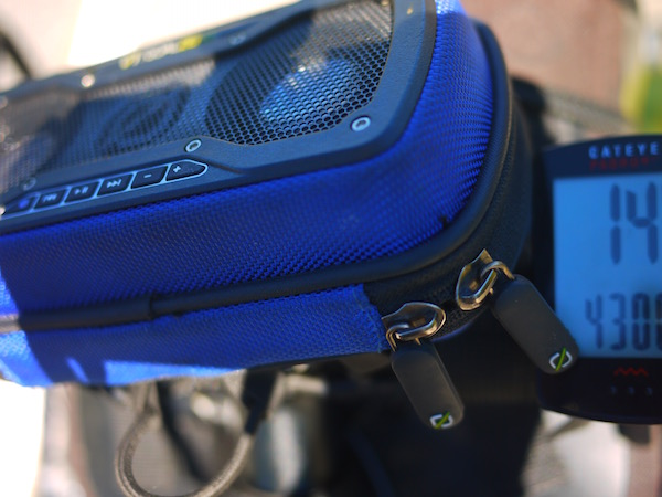 The speakers attached to the front of the bike